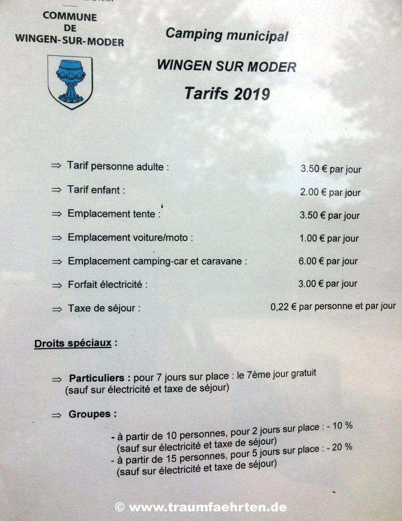 Camping Wingen-sur-Moder Preisliste