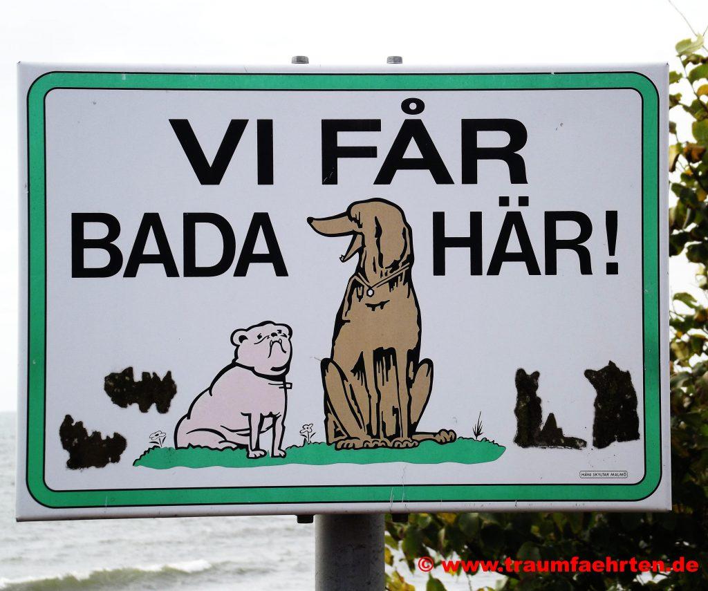 Hinweisschild Hundestrand Schweden